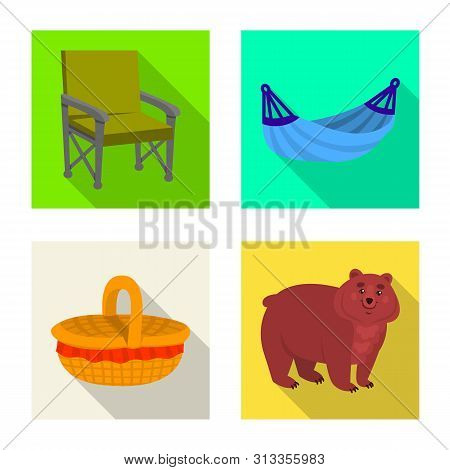 Vector Illustration Of Cookout And Wildlife Logo. Set Of Cookout And Rest Vector Icon For Stock.