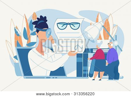 Advertising Banner Oculist Prescription Cartoon. Female Doctor Selects Glasses For Improving Eyesigh