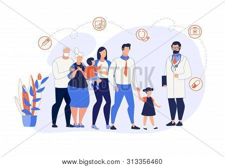 Advertising Banner Family Medicine Cartoon Flat. Large Family Came For Routine Checkup To Family Doc