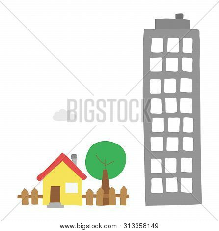 Vector Hand-drawn Illustration Of Detached House With Garden, Tree And Tall Building. Colored Flat S