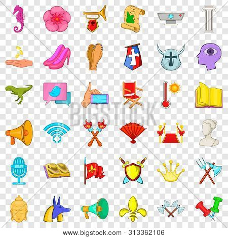 Exposition Icons Set. Cartoon Style Of 36 Exposition Vector Icons For Web For Any Design