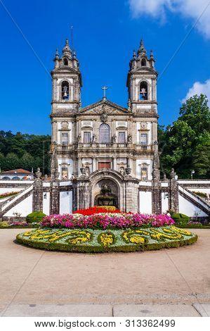 Braga, Portugal. Basilica of Bom Jesus do Monte Sanctuary seen from the Pelican Square. Portuguese and city landmark. Baroque. Unesco World Heritage