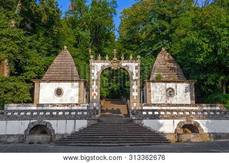 Braga, Portugal. Bom Jesus do Monte. Portico on the bottom entrance of the sactuary and start of Stations of the Cross. Baroque. Unesco World Heritage