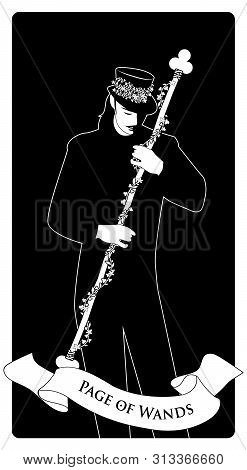 Page Or Knave Of Wands With Top Hat Holding A Stick With Flowers And Leaves. Minor Arcana Tarot Card