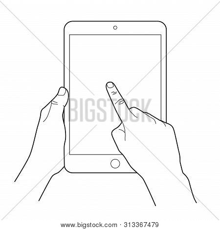 Hand Touching Blank Screen Of Tablet Computer. Simple Outlined Vector Icon. White Background.