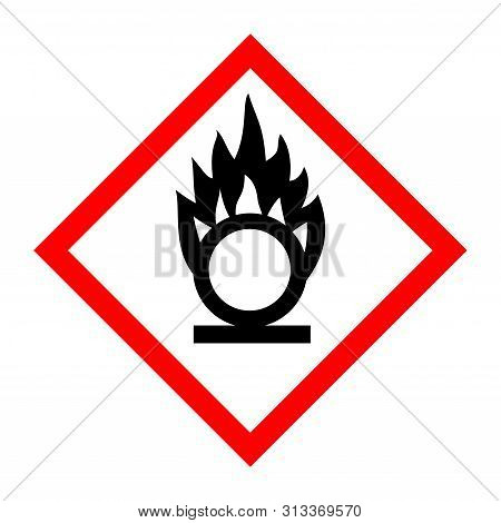 Pictogram For Oxidizing Substances With A White Background