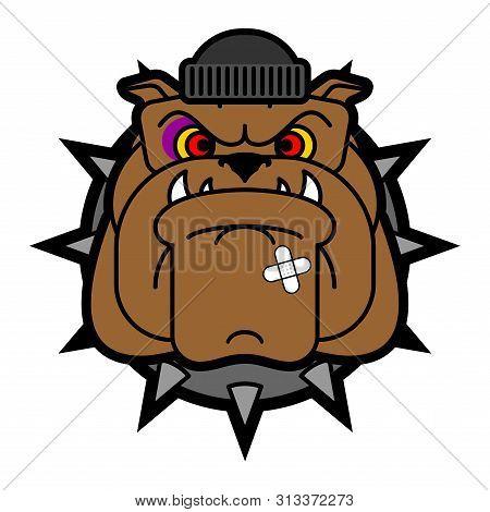Hooligan Dog Face. Bully Bulldog Head. Ruffian Pet. Vector Illustration