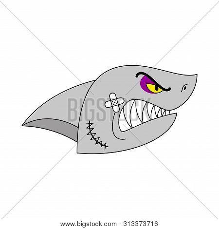 Hooligan Shark Face. Bully Water Predator. Ruffian Large Predatory Sea Fish. Vector Illustration