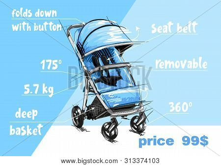 Cartoon Baby Stroller Vector Illustration. Girl Perambulator. Boy Pushchair.