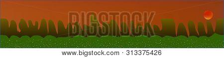 Orange Red Sky, And Mountains Landscape. Plain Horizontal Background Illustration. Trendy Fairy Tale