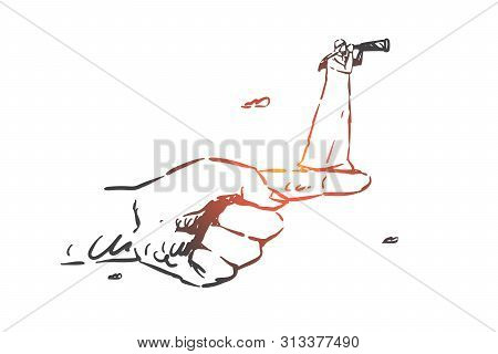 Intuition Concept Sketch. Arab In Hijab Standing On Forefinger And Looking At Spyglass Ahead. Hand D
