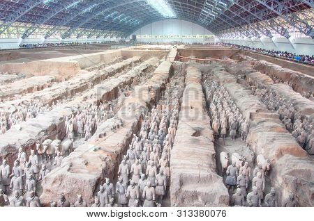August 18, 2015.  Xian, China.  The Terracotta Warriors Of Emperor Qin Shi Huang In The Largest Arch