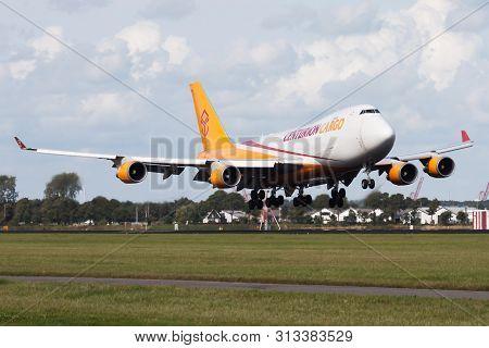 Amsterdam / Netherlands - August 14, 2014: Centurion Cargo Boeing 747-400 N902ar Cargo Plane Landing