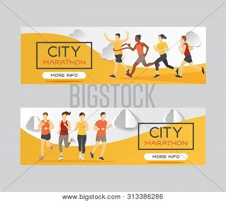 Marathon Runners Race Group Vector Illustration. Running Men And Women At Finish Of Marathon Race, W