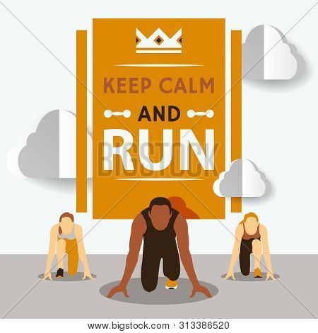 Start To Run Race Vector Illustration. Running Competition. Cartoon Character. Starting Line. Group