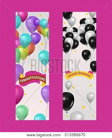 Balloons For Party, Birthday Or Rand Opening Event Banner, Vector Illustration. Flying Glossy Colore