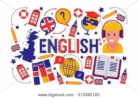 British English Language Learning Class Vector Illustration. Brittish Flag Logo, England, Dictionary