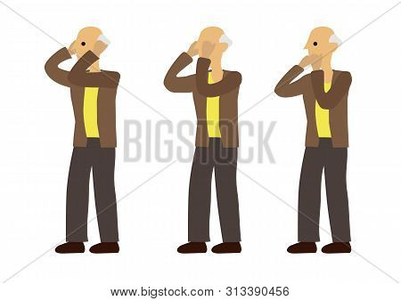 Old Man In Three Expression Of See No Evil, Speak No Evil And Hear No Evil. Concept Of Wisdom Or Ign