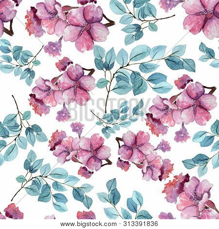 Seamless Floral Background With Sacura Flowers And Menthol Leaves. Hand Painted Watercolor Painting.