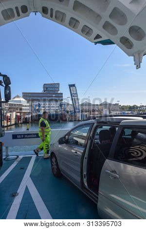 Ferryboat At Helsingor In Denmark On The Way To Helsingborg, Sweden