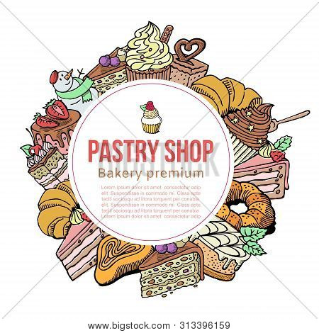 Pastry Shop Sketch Vector Template For Desserts, Cakes And Baking Goods. Vector Patisserie Poster De