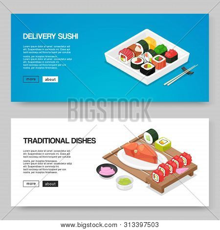 Sushi And Asian Food Delivery Vector Illustration. Japanese Asian Food For Online Order. Rolls, Futo