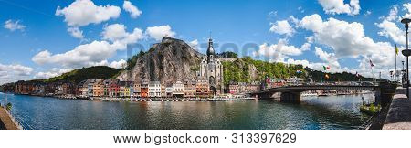 Dinant/belgium - 05/10/2019: Panoramic Cityscape Of Dinant, Small Belgian Town On River Meuse