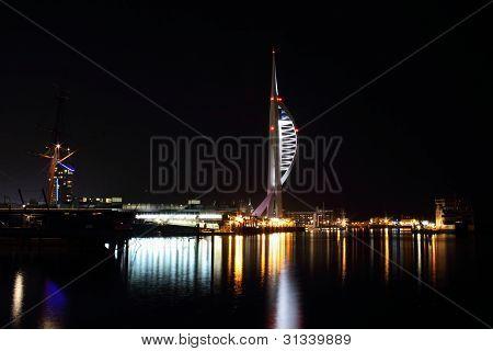 spinnaker tower at night