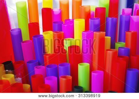 Plastic Tubes With Many Colors Such As Yellow, Orange, Red