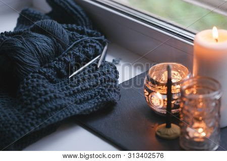 Candle And Aroma Stick On Windowsill. Concept Of Relax, Tranquil, Peaceful, Unplug, Balanced Time, K