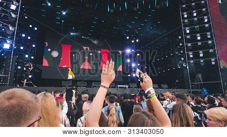Kyiv, Ukraine - 07.13.2019: Atlas Weekend Music Festival Outdoors, Fifth Day. Millennials Are Relaxi