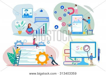 Seo Sem Smm Smo Concepts. People Using Devices For Advertising And Optimizing Websites And Social Ne