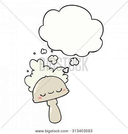 cartoon mushroom with spoor cloud with thought bubble