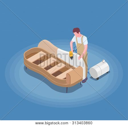 Handcraft Furniture Production Isometric Composition With Craftsman Assembling Painting And Upholste