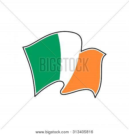 The National Flag Of Ireland. Vector Illustration. Dublin