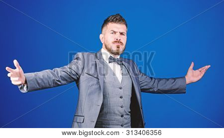 Little party never killed anybody. esthete. stylish art director. mature illusionist. Bride groom ready for wedding. business in modern life. bearded man in formal suit. businessman with beard in tie poster