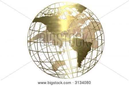 Gold Globe White Background