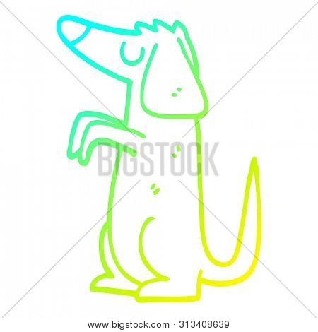 cold gradient line drawing of a cartoon well behaved dog