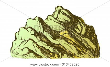 Color Summit Of Mountain Landscape Hand Drawn Vector. High Altitude Mountain Rock Peak Quiet Place F