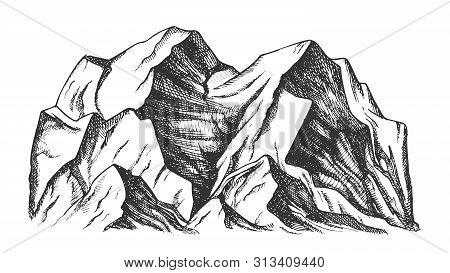 Summit Of Mountain Landscape Monochrome Vector. Mountain Rock Peak Discovery Adventure Wilderness Pl