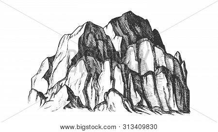 Peak Of Rocky Mountain Landscape Vintage Vector. Mountain Large Landform Rises Above Surrounding Lan