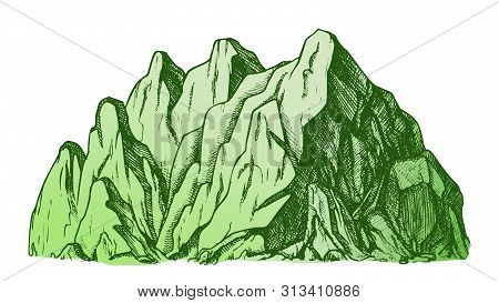 High Mountain Crag Landscape Hand Drawn . Mountain Place For Advertising Extreme Ski Sport Resort Or