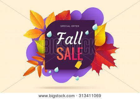 Fall Sale Banner Design. Autumn Sale Sticker Template. Abstract Geometric Background With Colorful F