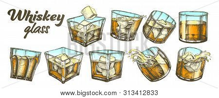 Color Collection Classical Irish Whiskey Glass Set . Different Design Glass With Strong Booze Tradit