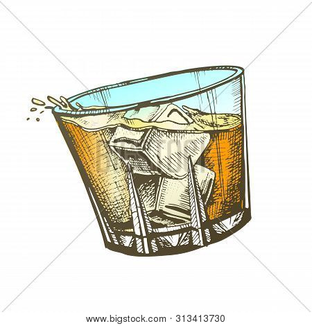 Design Glass With Whisky And Ice Cubes Vector. Hand Drawn Glass With Cold Irish Booze Distilled And