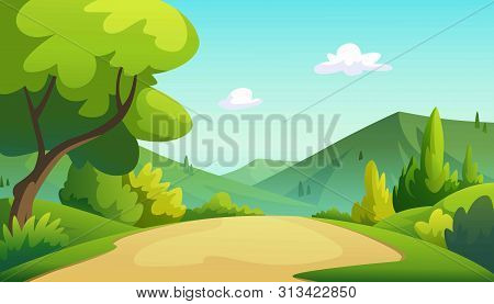 Vector Illustration Of The Mountains In The Morning, The Sky Is Very Beautiful.