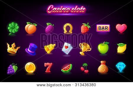 Colorful Slots Icon Set For Casino Slot Machine, Gambling Games, Icons For Mobile Arcade And Puzzle