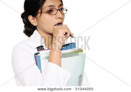 Lady Thinking Deeply About Some Business Issue, With Files In Her Hand.