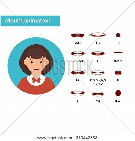 Mouth Animation. Girl Icon. Speaking Talking Mouth Vector Isolated Set. Phoneme Mouth Shapes Collect