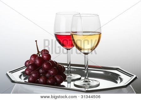 Wine Composition With Grape And Two Glasses